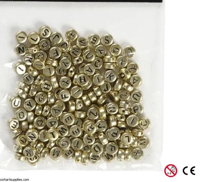 Beads Alpha 7mm 21gm Gold