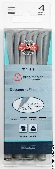 Fine Pens Koh-I-Noor Asst 4pk