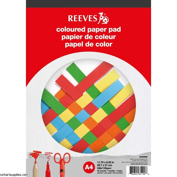 Coloured Paper Pad A4 Reeves Asst 20 Sheet