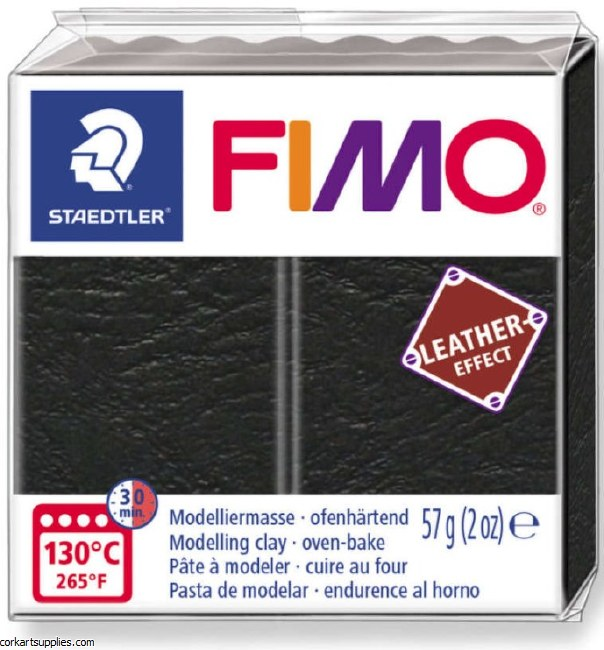 Fimo 57gm Leather Black