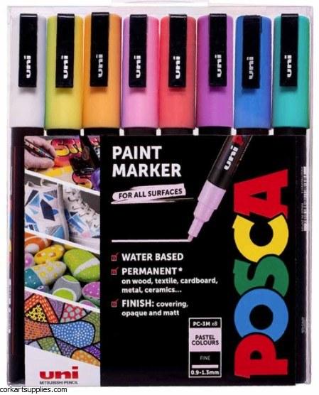 Posca Fine .9-1.3mm Pastel 8pk