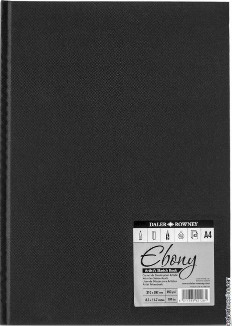 Daler Ebony Hardback A4 Portrait 150gm Cartridge