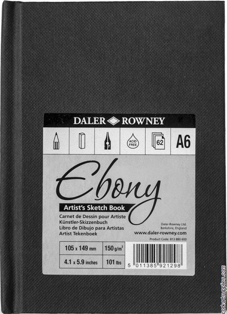 Daler Ebony Hardback A6 Portrait 150gm Cartridge