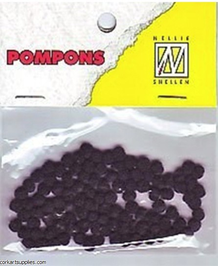 Pom Poms 100pk 3mm Black