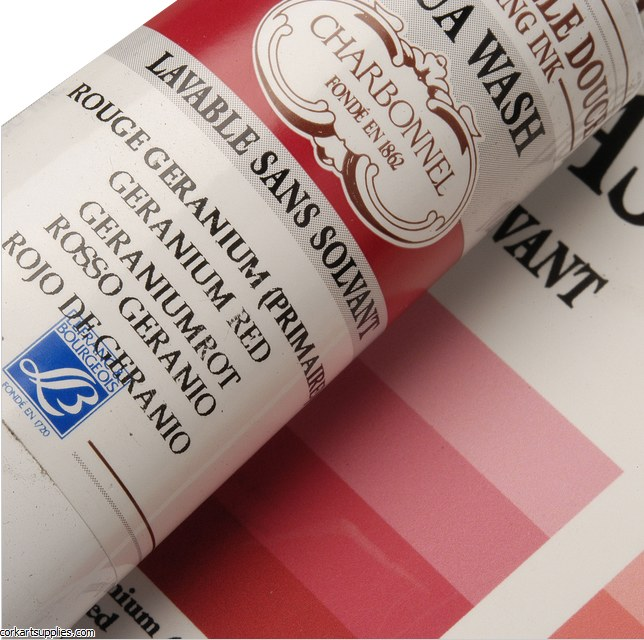 Charbonnel Geranium Red 60ml Aqua Wash Etching Ink