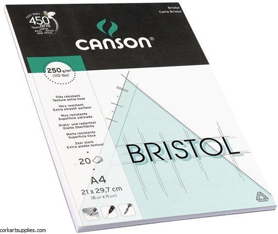 Bristol Pads A4 250g Canson 20 Sheet