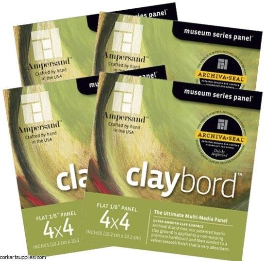 "Claybord Panel 3mm 4x4"" 4pk"