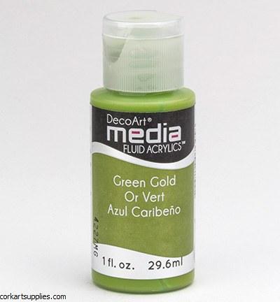DecoArt Media Fluid Acrylic 29ml Green Gold