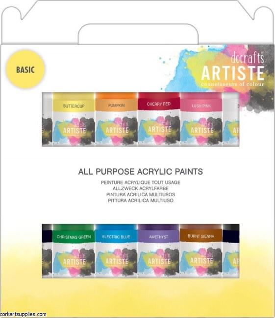 Docrafts Artiste Acrylic Pack 12x59ml Basic