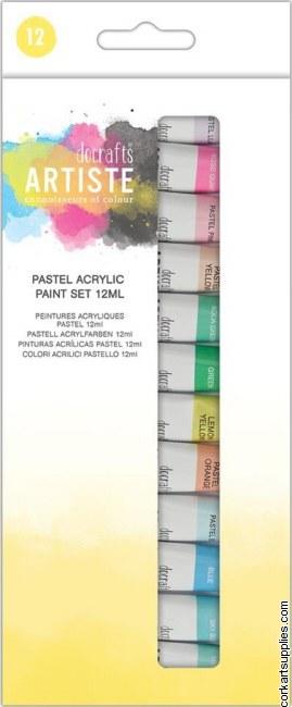 Docrafts Artiste Acrylic Paint Set 12x12ml Pastel