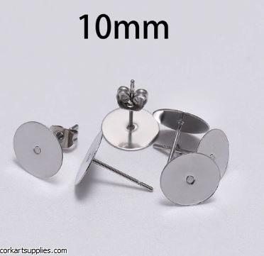 Earrings Studs 10mm 100pk