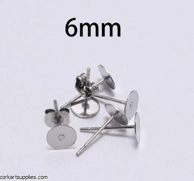 Earrings Studs 6mm 100pk