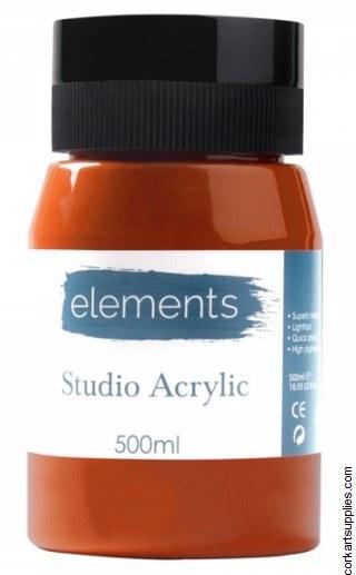 Elements Acrylic 500ml Burnt Sienna