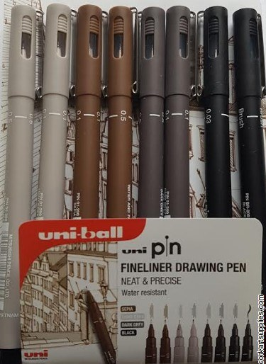 Uniball Fineliner Drawing Pen 8pk