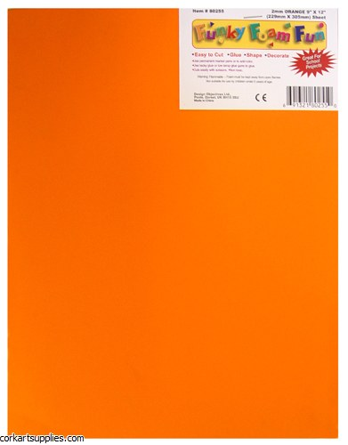 Foam Sheet 12x18in 2mm Orange