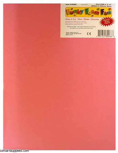 Foam Sheet 12x18in 2mm Pink