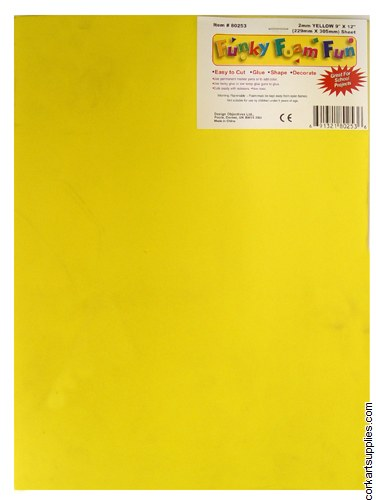 Foam Sheet 12x18in 2mm Yellow