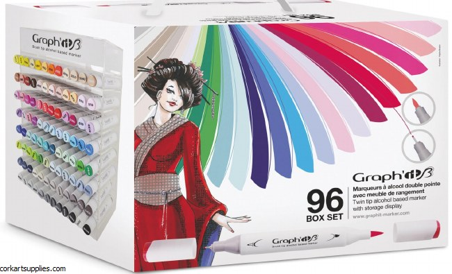 Graph'it Brush Markers dual tip 96pk with free display Holder