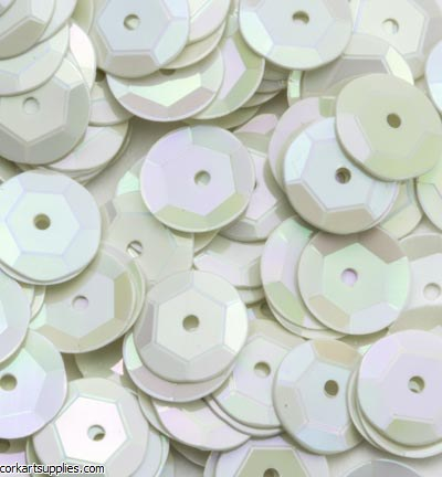 Sequins 6mm Cup 12gm G/White