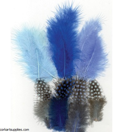 Feathers Guinea Fowl Blue Mix 18pk