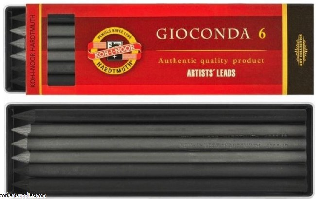 Clutch Lead 5.6mm Assorted Charcoal, Graphite & Drawing leads 6pk