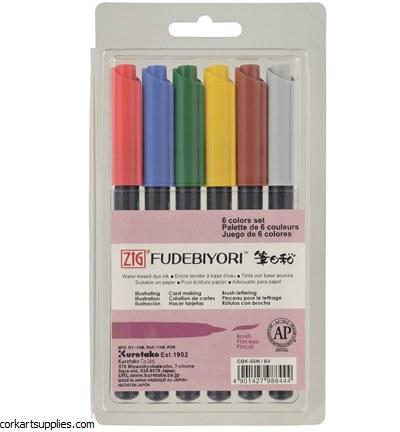 Kuretake Fudebiyori Brush Pen 6 Colour Set