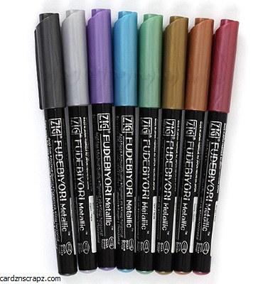 Kuretake Fudebiyori Brush Pen Metallic 8 Colour Set