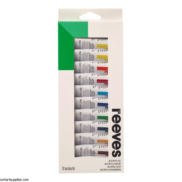 Reeves 10ml Asst Acrylic 12pk