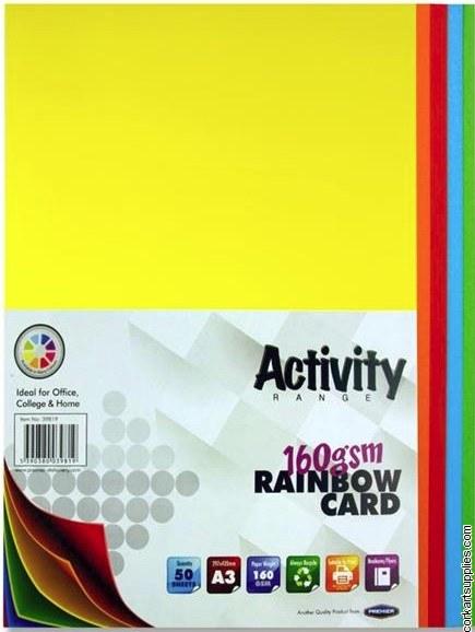 A3 Card 160g Asst 50pk