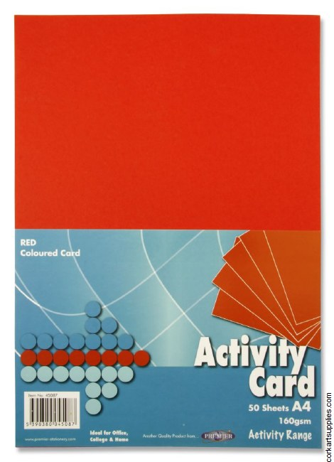 A4 Card 160gm Red 50pk
