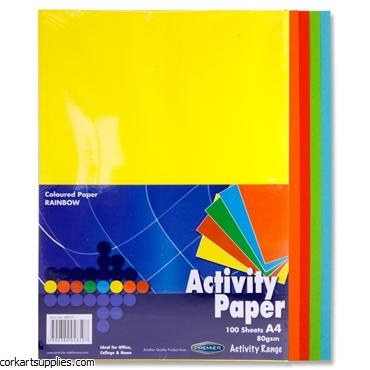 A4 Coloured Paper 100 Pack Assorted