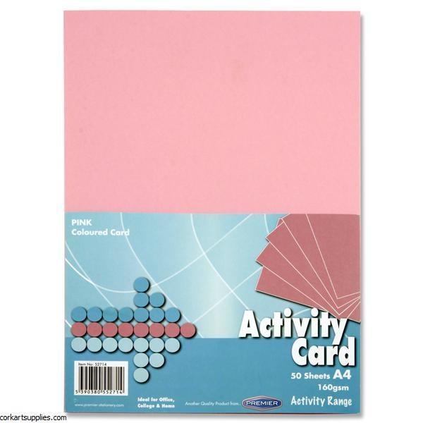 A4 Card 160gm Pink 50pk
