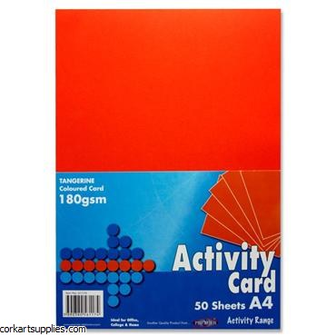 A4 Card 160gm Orange 50pk