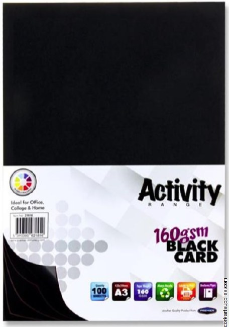 A3 Card 160gm Black 100pk