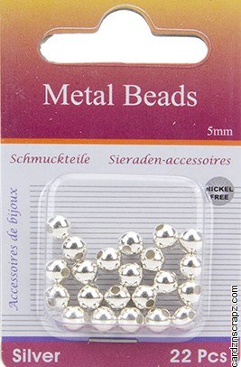 Beads Silver 5mm 22pk