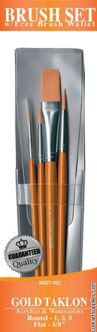Gold Taklon Brush 4 Pack Assorted Sizes