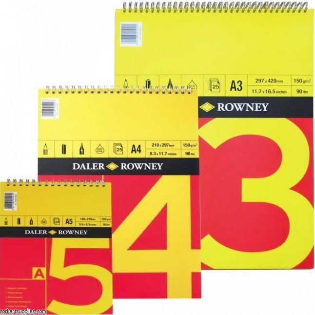 Daler Rowney Red & Yellow Spiral A5 Pad