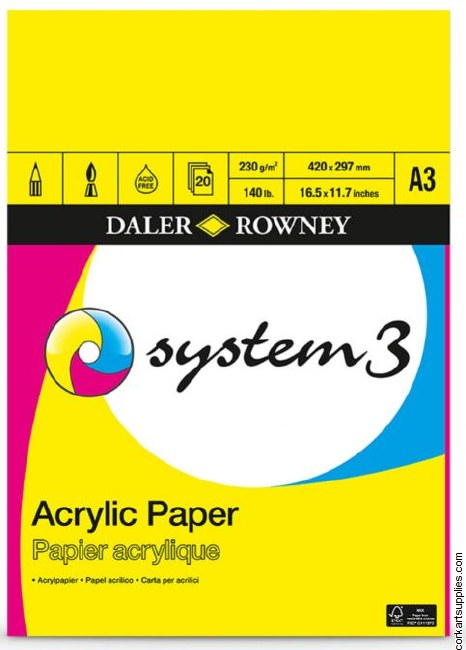 System 3 Acrylic 230gm Pad A3 20 Sheet