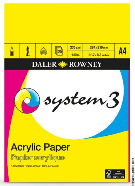 System 3 Acrylic 230gm Pad A4 20 Sheet