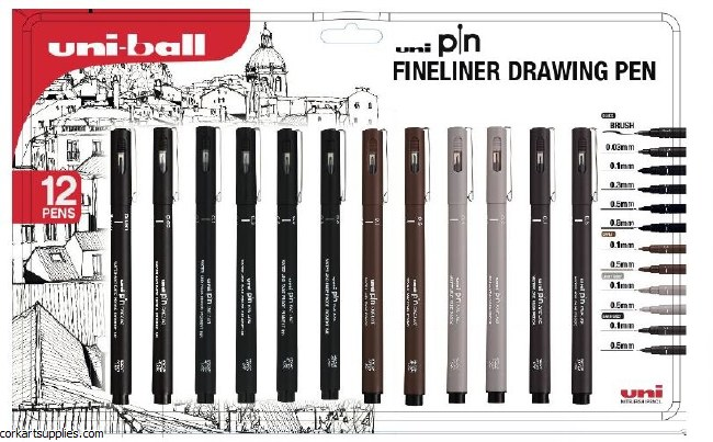 Uniball Fineliner DrawPen 12pk