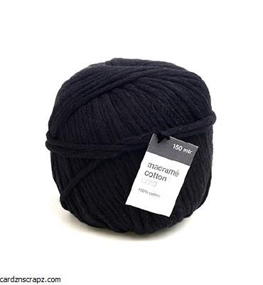 Vivant Macrame Cotton Cord, Noir