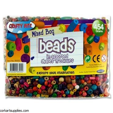Beads Wood Asst 454gm^