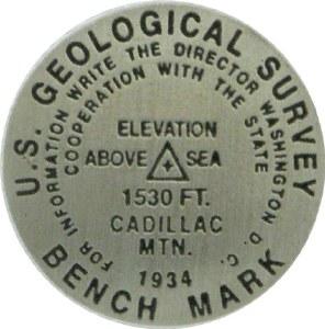 Cadillac Mountain Bench Mark Medallion Pin