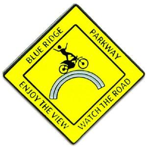 Blue Ridge Parkway Yellow Moto Man Lapel Pin