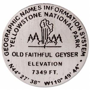 Old Faithful Geyser Bench Mark Medallion Pin