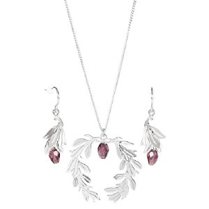 Lincoln Memorial Laurel Earring & Necklace Set (Purple)