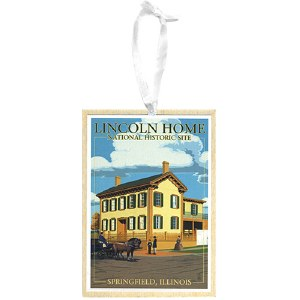Wooden Lincoln Home NHS Ornament
