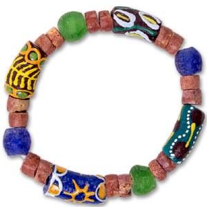 Adinkra Tree of Life Glass Bead Bracelet