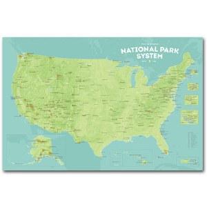 National Park System Units Map - Green & Aqua