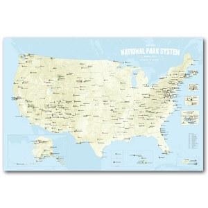 National Park System Units Map - Beige & Light Blue